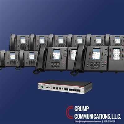 Allworx 536 server with 10 Allworx Verge 9312 phones, two that have Allworx Verge 9318 Expander Side Cars, by Crump Communications.