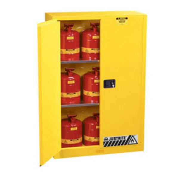 Justrite 45 Gal. Sure Gripu0026#0174 EX Lab Safety Cabinet (Self Close, Yellow)