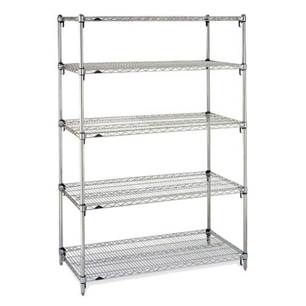 Metro Stainless Steel Super Adjustable 2 Wire Shelving - 5-Shelf Unit, 18