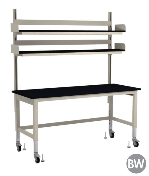 72 wide steel frame lab table with overhead lab shelving kit