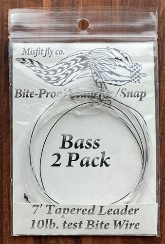 MISFIT BASS LEADER 7' 10lb. w/BITE WIRE TIPPET