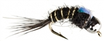 NYMPH HEAD TUNGSTEN FLASHBACK HARE'S EAR BLACK - SIZE 16