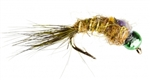NYMPH HEAD TUNGSTEN FLASHBACK HARE'S EAR OLIVE - SIZE 16