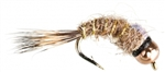 NYMPH HEAD TUNGSTEN FLASHBACK HARE'S EAR NATURAL - SIZE 16