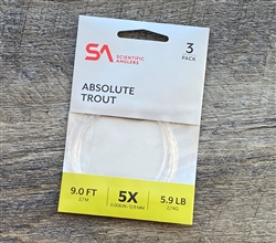 SA ABSOLUTE TROUT LEADER 9FT - 3 PACK