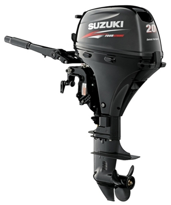 "Suzuki DF20AEL, 4 stroke 20hp, Tiller handle, Electric Start, 20"" Shaft"