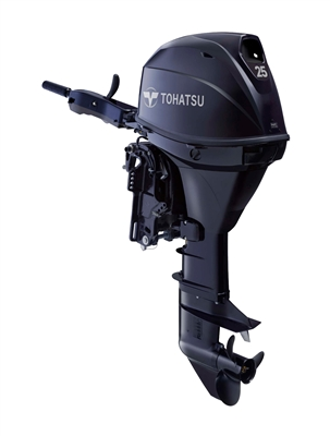 "Tohatsu MFS25CETS EFI 4-Stroke Fuel Injection, 25 hp 15"" Shaft - Electric Start - Tiller Handle or remote control - Remote Fuel Tank"