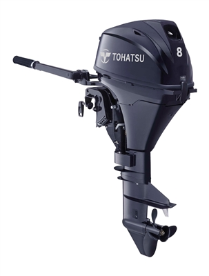 "Tohatsu MFS8BEFL Four-Stroke, 8 hp 15"" Shaft - Manual Start - Tiller handle - Remote Fuel Tank"