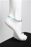 """Mermaids Dream"" Swarovski anklet . Round Swarovski Crystal 4mm blues and greens with heart chain and sterling silver lobster claw."