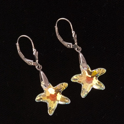Our glamorous Swarovski earrings have the 16mm starfish in Aurora Borealis (AB) that sparkles and dangles from our sterling silver lever backs!