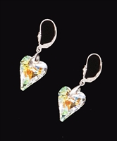 Wild heart earrings handcrafted with Swarovski crystals in the USA for 25 years!