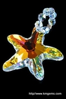 TheSparkly Seastar is one of KMGems changeable pendants made with swarovski crystal. Choose AB (aurora borealis) or Blue AB