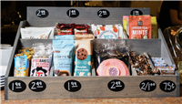 HANDCRAFTED WOODEN COUNTERTOP SNACK DISPLAY