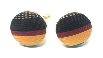 GOLD, BURGUNDY, BLACK AND BROWN HANDMADE CUFFLINKS CL-127