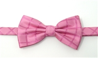 Pink Solid Pre-Tied Bow Tie Set - Includes Matching Pocket Square DPTBT433