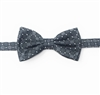 Charcoal Grey & Silver Diamond Squares Pre-Tie Bow Tie Set - Includes Matching Pocket Square DPTBT455