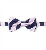 Navy & Pink Regal Pre Tied Bow Tie Set - Includes Matching Pocket Square DPTBT462