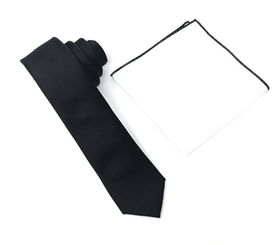 Corded Weave Solid Black Skinny Tie With A White Pocket Square With Black Colored Trim DSCWT135