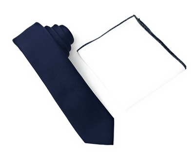 Corded Weave Solid Navy Skinny Tie With A White Pocket Square With Navy Colored Trim DSCWT136