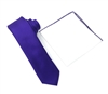 Corded Weave Solid Purple Skinny Tie With A White Pocket Square With Purple Colored Trim DSCWT147