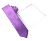 Corded Weave Solid Lavender Skinny Tie With A White Pocket Square With Lavender Colored Trim DSCWT148