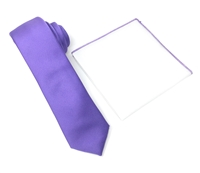 Corded Weave Solid Light Purple Skinny Tie With A White Pocket Square With Light Purple Colored Trim DSCWT149