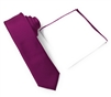 Corded Weave Solid Dark Magenta Color Skinny Tie With A White Pocket Square With Dark Magenta Colored Trim DSCWT158