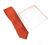 Corded Weave Solid Rust Color Skinny Tie Set Including White Pocket Square With Rust Color Trim DSCWT159