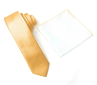 Corded Weave Solid Gold Skinny Tie With A White Pocket Square With Gold Colored Trim DSCWT161