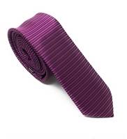 Plum & Plum Passion Horizontal Striped Skinny Silk Tie (Tie Only) DSKT078