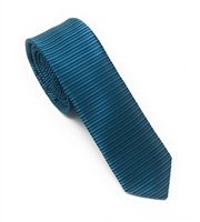 Teal, Turquoise & Light Sea Green Horizontal Striped Skinny Silk Tie (Tie Only) DSKT084