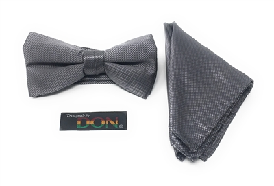 Grey Pin Dot Bow Tie Set - Includes Matching Hanky DTBT66