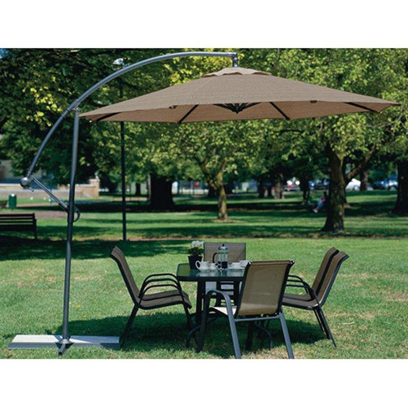 10 Foot Mocha Offset Patio Canopy Umbrella Rotates 360