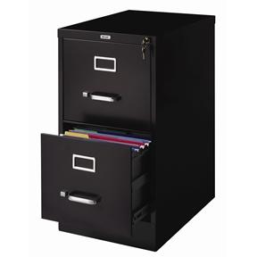 2-Drawer Vertical Filing File Cabinet with Lock in Black Metal