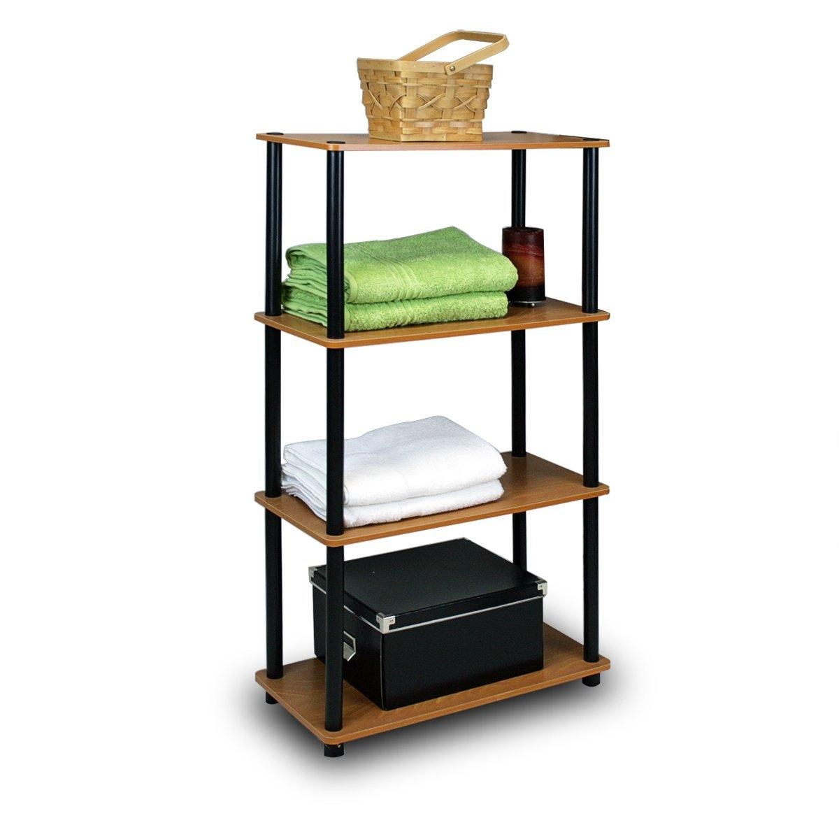 4-Tier Storage Shelf Display Rack Bookcase in Cherry Finish