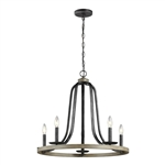 5 Light Dimmable Farm Home Circle Metal Chandelier Oak Finish