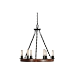 Farm Home Perfect Circle 6 Lights Metal Wood Chandelier