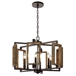 6-Light Dimmable Aged Bronze Rustic Farmhouse Pendant with Wood Accents Chandelier