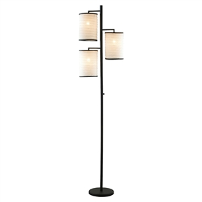 Modern Japanese Style 3-Light Tree Floor Lamp with Cotton Shades