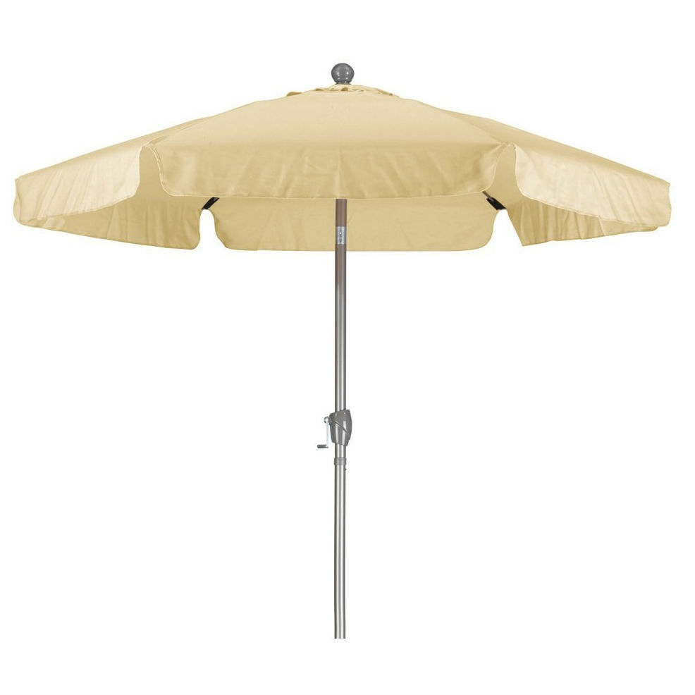 Antique Beige 7.5 Foot Off White Patio Umbrella With Push Button Tilt And  Metal Pole