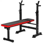 Adjustable Folding Flat Bench Press Barbell Weight Rack Home Gym