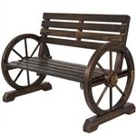 2 Person Farm Home Wagon Wheel Wooden Bench