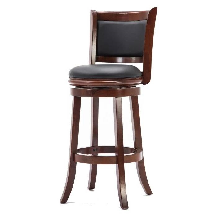 Amazing Cherry 29 Inch Solid Wood Bar Stool With Faux Leather Swivel Seat Short Links Chair Design For Home Short Linksinfo