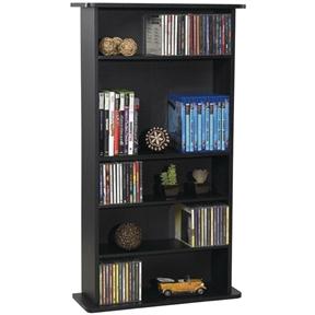 Black Media Storage Cabinet Bookcase with Adjustable Shelves