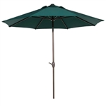 9 Foot Outdoor Patio Umbrella with Push Button Tilt and Crank Dark Green