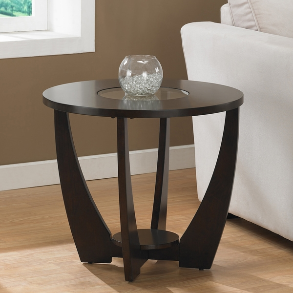 Stylish Espresso End Table With Shelf And Gl Insert