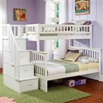 双层床,双层床,带楼梯储物抽屉,白木饰面