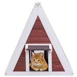 防风雨红色A框木制猫屋家具庇护所