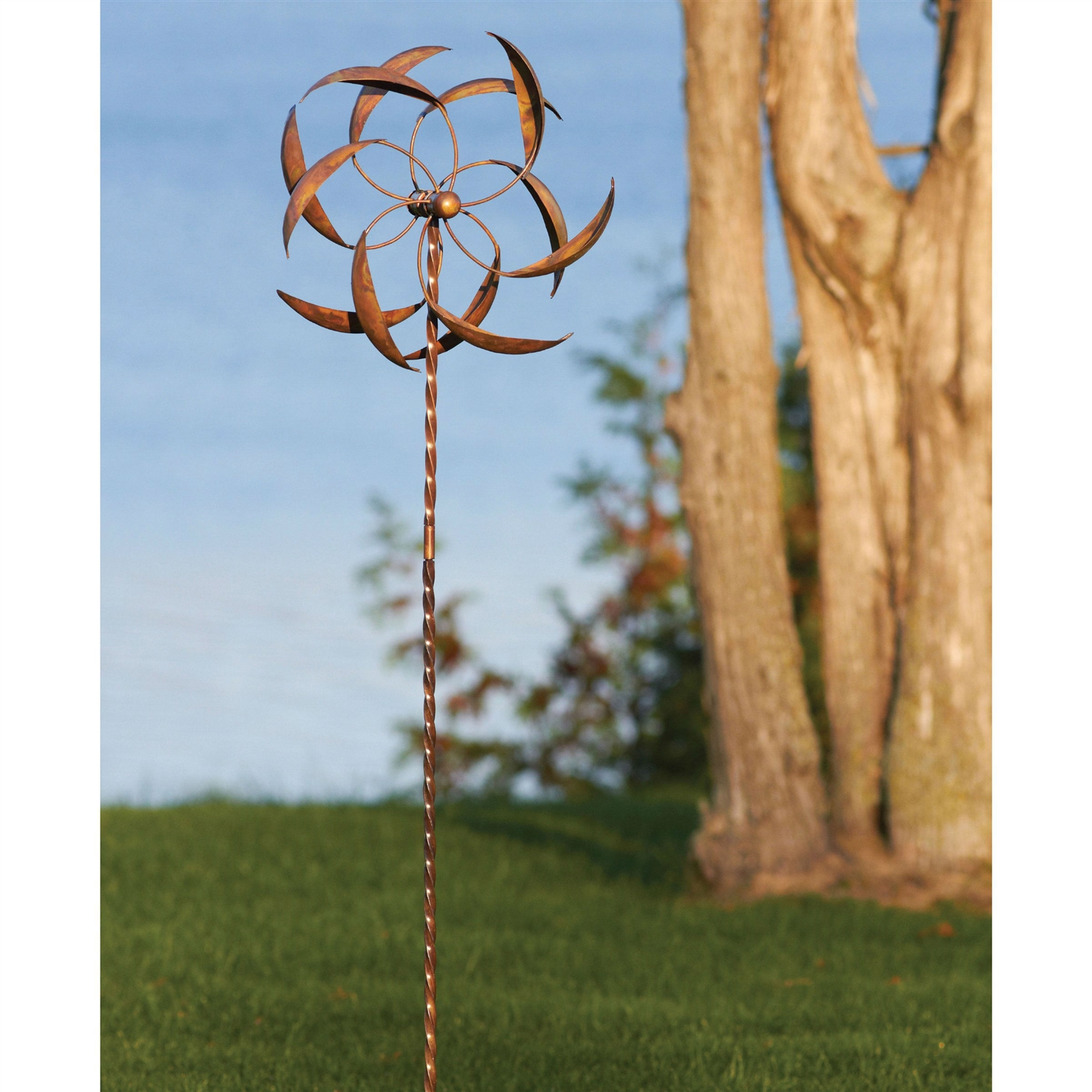 Copper Plated Metal Wind Spinner Stake for Outdoor Yard Garden ...