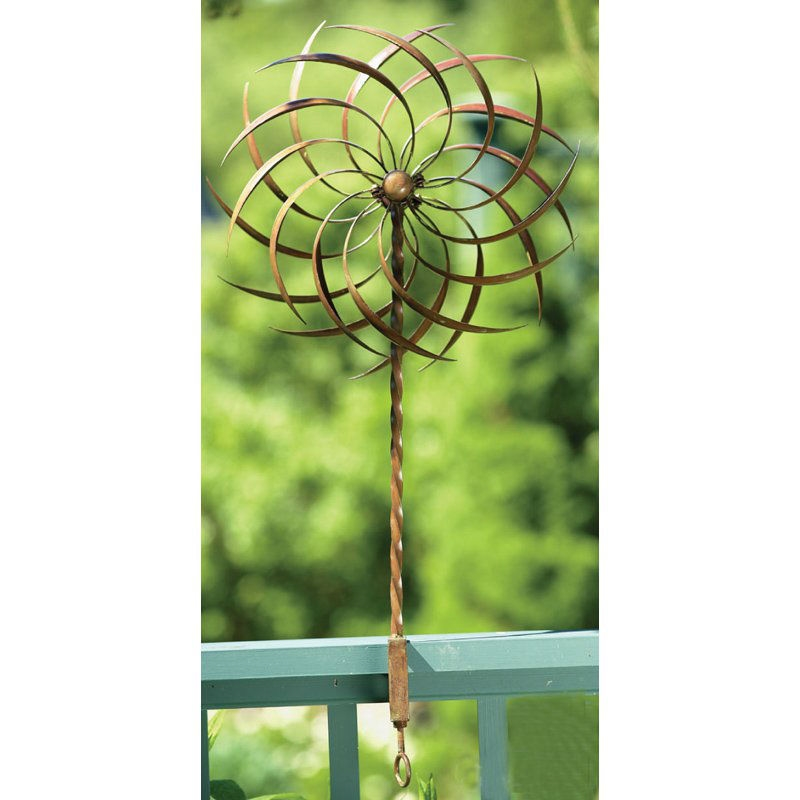 Handcrafted Copper Plated Ornamental Outdoor Garden Wind Spinner Pin ...